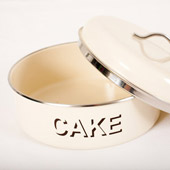 Cream Enamel Cake Tin