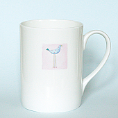 Blue Dotty Bird Mug