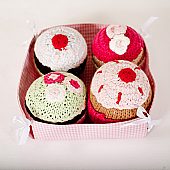 Crochet Cupcake Rattles - Set of 4