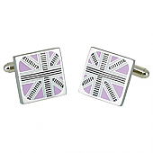 Union Jack Trimmed Pink Cufflinks