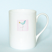 Eau de Nil Dotty Bird Mug