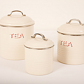 Cream Enamel Tea and Sugar Caddies